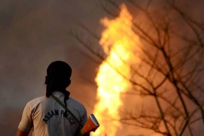 Oil well burning in assam